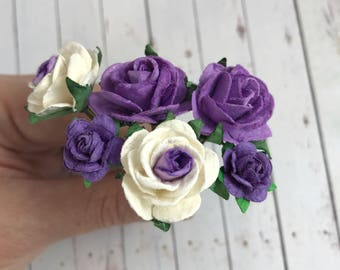 Flower Hair Pins in Purple and White for Weddings, Bridesmaids, Prom, Ballet Buns // Roses Bobby Pins Gift Set // Romantic Hairstyle
