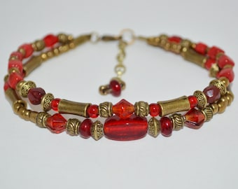 Ankle Bracelet 2 Strand Bronze & Red Bead, Bronze and Red Anklet, Vintage Look Red Anklet, 1 of a Kind Anklet, Moroccan Style Beaded Anklet