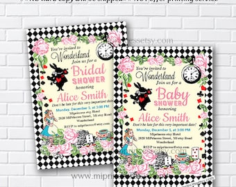 Alice in wonderland, bridal shower, baby shower, alice wonderland birthday, alice party, wonderland party, mad hatter party,  card 565