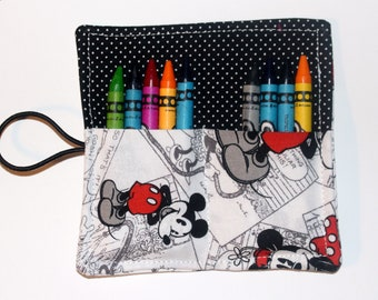 10 Count Mickey Mouse Crayon Roll, Party Favor, Party Supplies, Gift Basket, Party Favor, Wedding Favor, School Supplies, Daycare Supplies