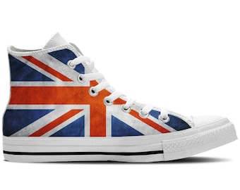 UK Flag British Flag Union Jack Flag - Men's High Top Sneakers / Custom Canvas Shoes - White