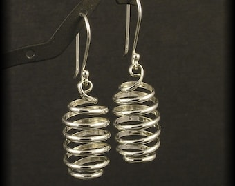 Silver Spiral Earrings - Sterling Spirals Dangle from Budded Handmade Ear Wires - Argentium SS