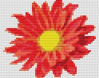 Flower Cross Stitch Chart, Red Gerbera Cross Stitch Pattern PDF, Floral Cross Stitch, Flower Series, Embroidery Chart