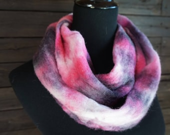 Pink, Gray, Merino, Wool, Felted, Scarf, Hand Felted, Fiber Arts, Warm, Wide, White, Winter