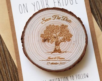 Custom Tree Wood Save the date Magnets, rustic wedding favors, Rustic wedding Magnets,Rustic Wedding Magnet