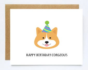 Corgi Birthday Card, Funny Corgi Card, Corgi Card, Corgi Lover Card, Dog Birthday Card, Funny Dog Card