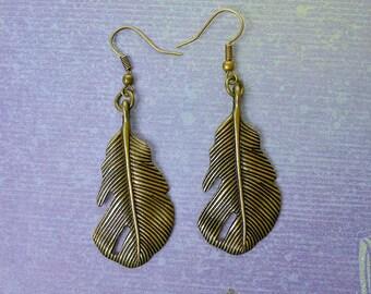 Bronze Feather Earrings, Southwestern Earrings, Feather Dangle Earrings - Feather Jewelry - B5959-FEW
