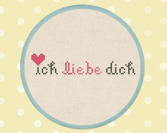 Ich Liebe Dich Cross Stitch Pattern, German  Love You Text Modern Simple Cute Counted Cross Stitch PDF Pattern Instant Download