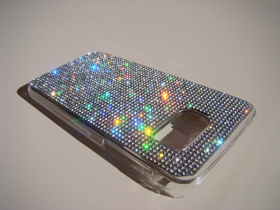 Galaxy S7 Case Clear Diamond Crystals on Transparent Case. Velvet/Silk Pouch Bag Included, Genuine Rangsee Crystal Cases.