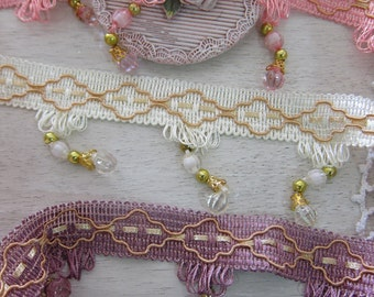 1Yard- VIntage Beaded Dangle Trim/Acrylic Glass Beaded Dangle Trim/Curtain Dangle Trim