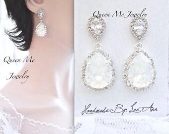 Swarovski Crystal white opal crystal earrings Halo crystal teardrop earrings Wedding earrings Bridal Wedding jewelry Bridesmaids SOPHIA