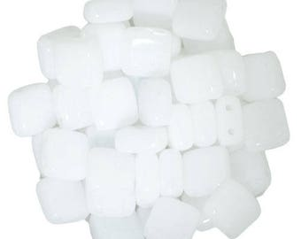 30 6 mm WHITE ALABSTER CzechMates Tile beads