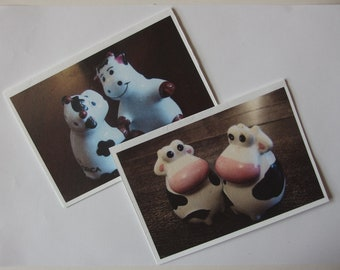 2 cards of my originalphotos of cow cruets