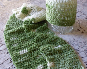 Green Hat and Scarf Set - Super Soft Green and White Hand Crocheted and ready to ship