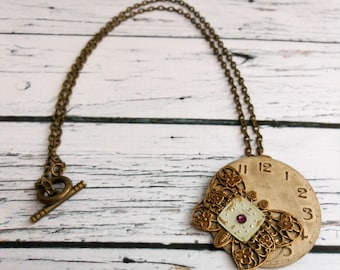Butterfly Necklace, Brass Amethyst Crystal Pendant, Unique Quirky Gift for Nature Lover, Birthday Jewelry for Girlfriend, New Mom Present