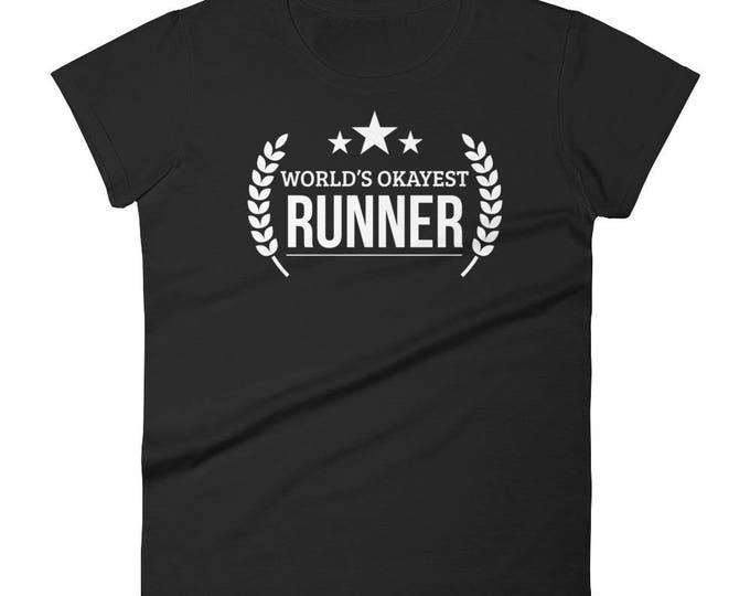 Marathon Runner Gift, Women's World's Okayest Runner t-shirt - gifts for a runner female, gift for half marathon runner