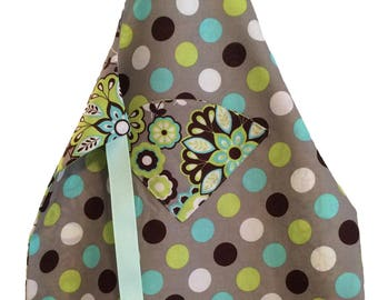 Reversible Kid's Apron - Green, Gray, and Blue Paisley and Polka Dots