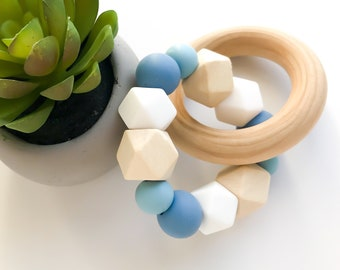 Teether Ring - hexagons & blue