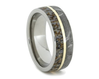 Meteorite Ring, Dinosaur Bone Wedding Band With 14K Yellow Gold Pinstripe, Titanium Ring