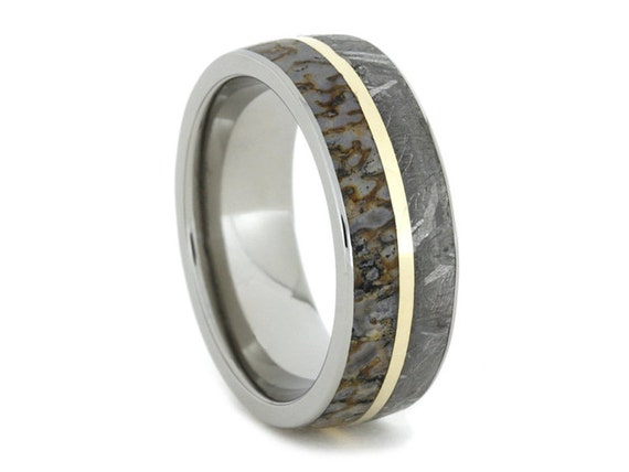 Beautiful Meteorite Ring Dinosaur Bone Wedding Band With 14K Yellow