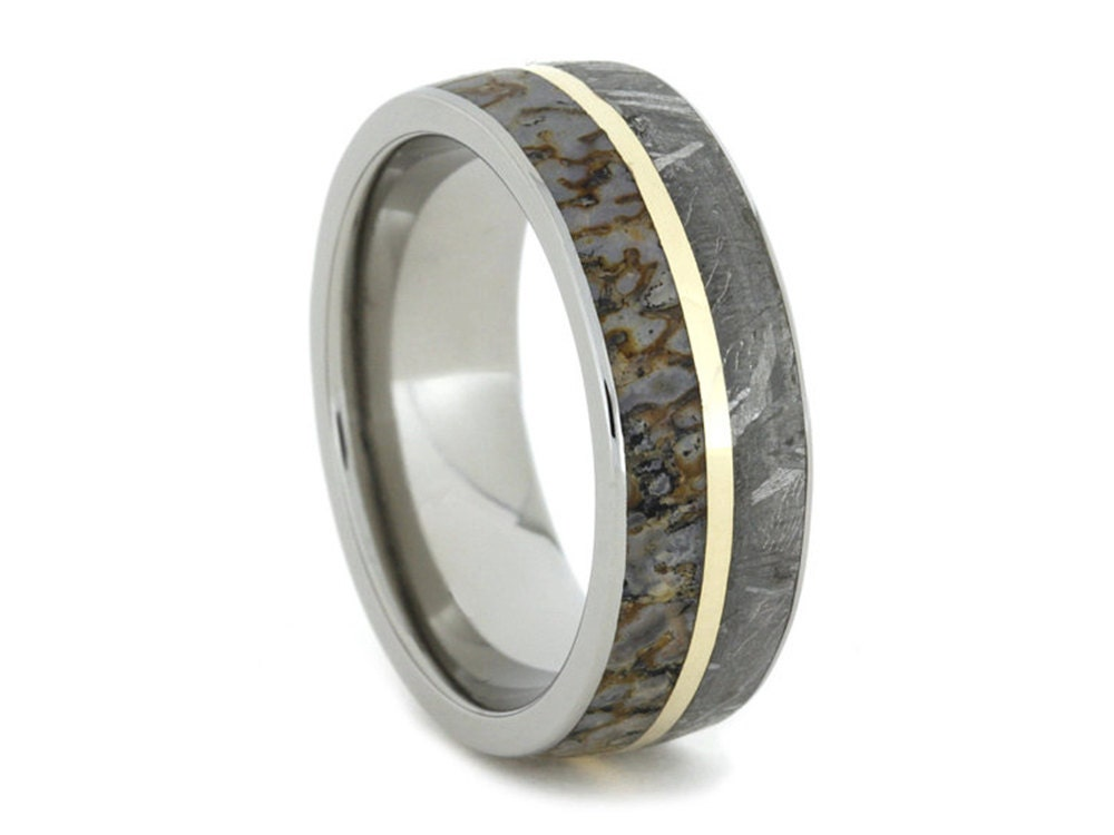 titanium and wedding dinosaur by antler met with meteroite jewelry meteorite ring rings bone dino products