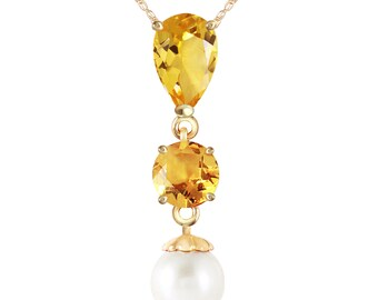14K. solid gold necklace  WITH CITRINES & PEARL rose gold, yellow gold, and white gold.