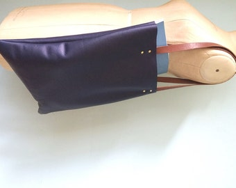 Leather tote bag, blue leather book bag, simple leather tote by Ginger and Brown