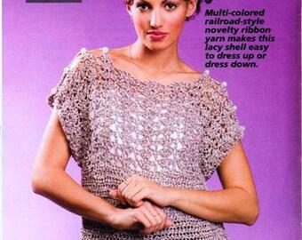 Crochet Bulky Sweater Pattern, Sassy Shells Womens Crochet Top PATTERN,  Digital Download,