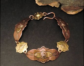 B1553 Copper and Brass linked Bracelet 8""