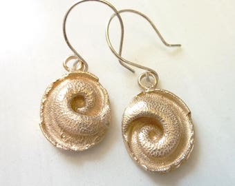 Serpentine Yin Yang Earrings, Bronze or Sterling Silver, Snail Shell, Nautilus Ammonite Spiral Fossil, Reptile Snake Tail, Spiritual Balance