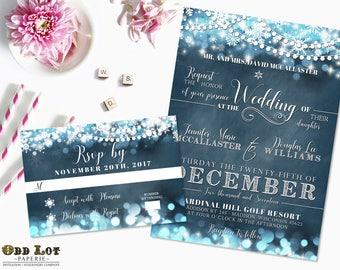 Snowflake Wedding Invitation Set Winter Wedding Invitations Winter Wonderland DIY Digital printable wedding invite Christmas Invitation