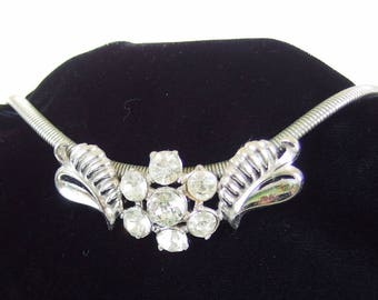 Vintage Coro Pegasus Rhinestone Choker Necklace, Flower Slider Jewelry