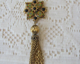 Enamel Maltese Cross Necklace w/ Tassel Dangle, Maltese Cross Pendant, Vintage Maltese Cross Jewelry, Heraldic Jewelry