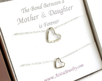 Mother Daughter Heart Necklaces. Sterling Silver Heart Necklace Set. Two Hearts Necklaces. New Mom Necklace Gift Set.
