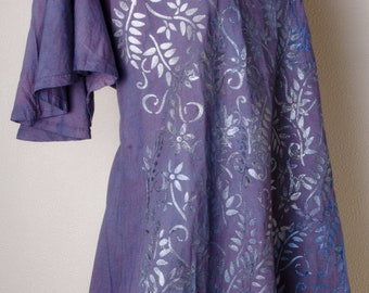 Navy grape dressy dress Handpainted dyed natural yoga plus size 3x xxxl  4x Cotton india indian dress tunic handmade hippie hippy boho