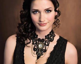 black lace statement necklace