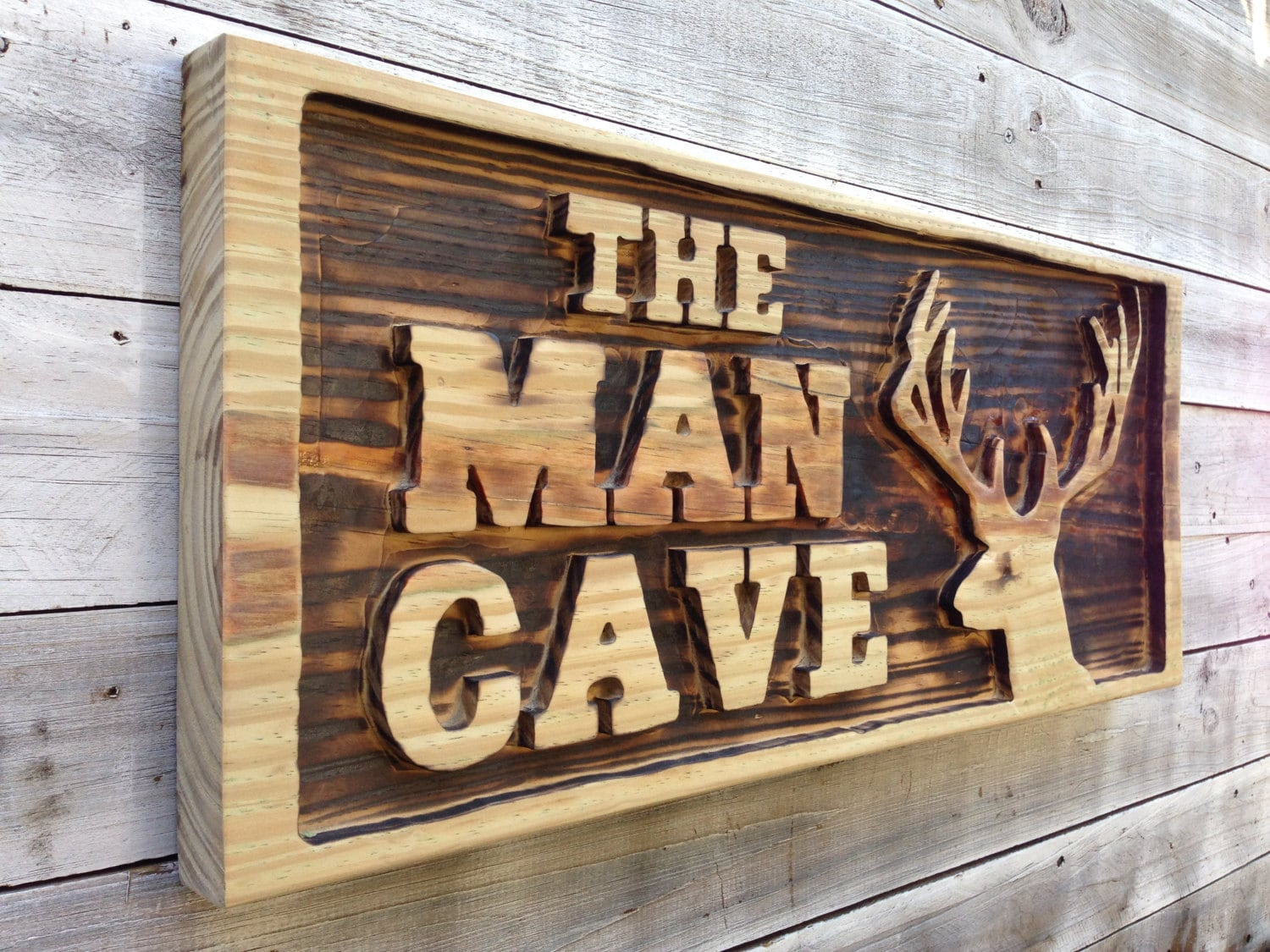 Man cave wall decor carved with deer head wooden