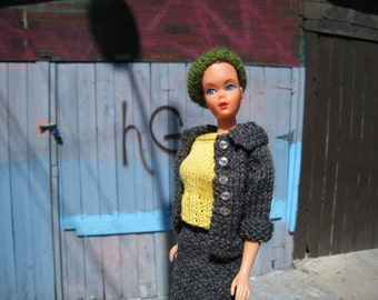 Barbie Knitting Pattern, Barbie Suit with Matching Pill Box Hat