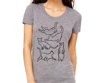 black and gray cat shirt, cat tee, t-shirt, funny cat shirt, cat lover gift, gift for cat lover, crazy cat lady, teen girl, cat silhouette