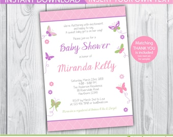 butterfly invitations printable / butterfly invitation / baby shower butterfly invitation / purple butterfly invitation / garden invite