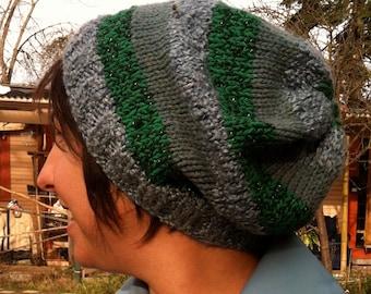 Custom Striped Cozy Hat festival, beanie, slouchy hat, striped hat, winter hat, dread hat