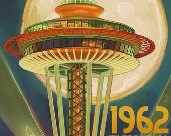 Space Needle and Full Moon - Seattle, WA (Art Prints available in multiple sizes)