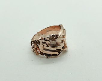 Men's Ring Rose Gold 14k Gold Futuristic Style