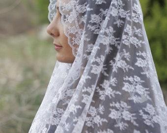 Gorgeous chapel veil scarf, Rectangular lace veil, White Mantilla veils, Church veil