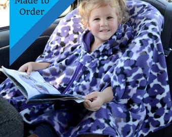 Car Seat Poncho - Car Seat Poncho Boy  - Car Seat Poncho Girl - Extra Warm Poncho - Car Seat Poncho with Zipper - Carseat Poncho with Arms
