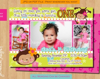 Monkey birthday invitation girl monkey party ideas monkey 1st monkey invitation birthday monkey party invitations monkey invitation first birthday monkey girl birthday invitation 1 year stopboris Images