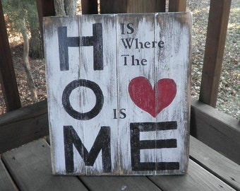 Primitive wood sign,Home is where the heart is wood primitive sign, subway art, topography, wall hanging