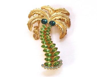 Palm Tree Brooch | Monkey in Tree | 1928 Jewelry | Rhinestone Palm Tree | Monkey Brooch | Whimsical Jewelry | Large Brooch