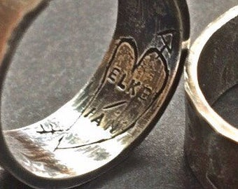 Personalized Wedding Bands, Custom Hand Engraved Heart with Names and Arrow, Promise Rings, Rustic Wide Ring Bands, Secret Message Rings