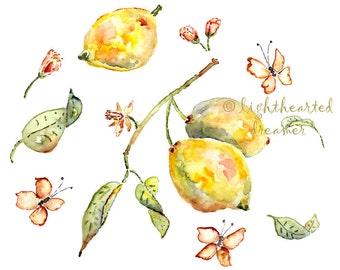 Yellow Kitchen Art, Kitchen Print, Kitchen Artwork, Lemon Watercolor Painting, Yellow, Lemon Print, Kitchen Watercolor